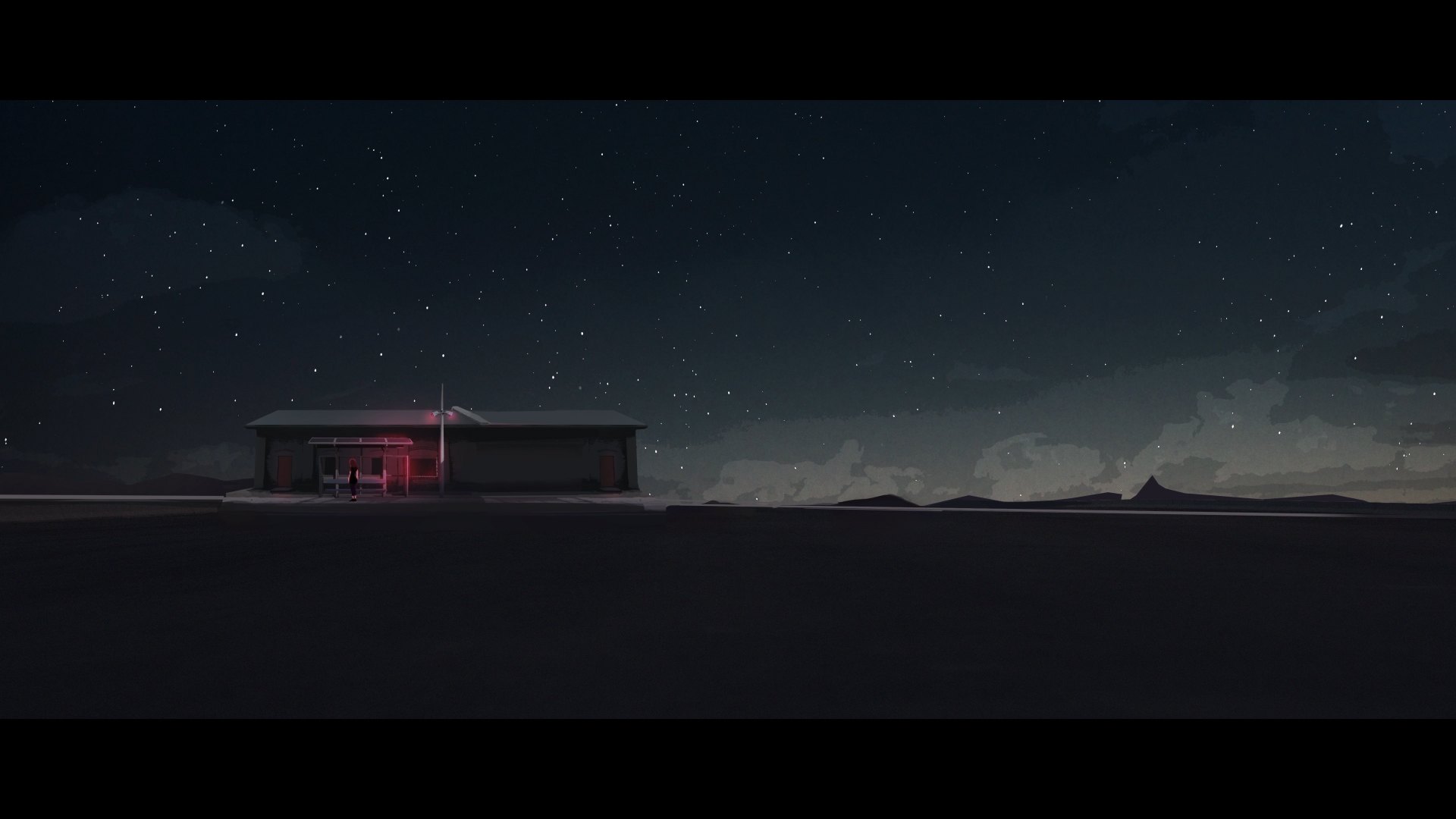 Illustration of a lonely train station in the middle of nowhere