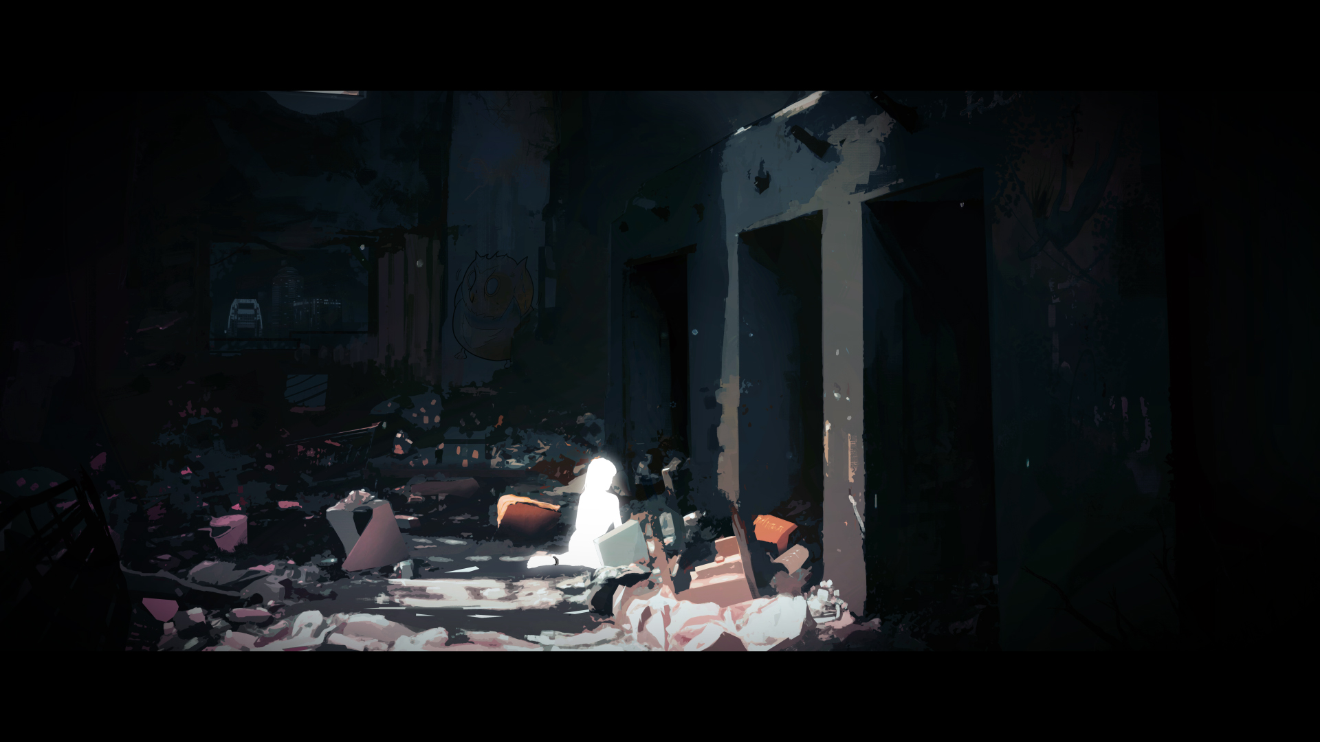Illustration of a white glowing human in the middle of an abandoned building