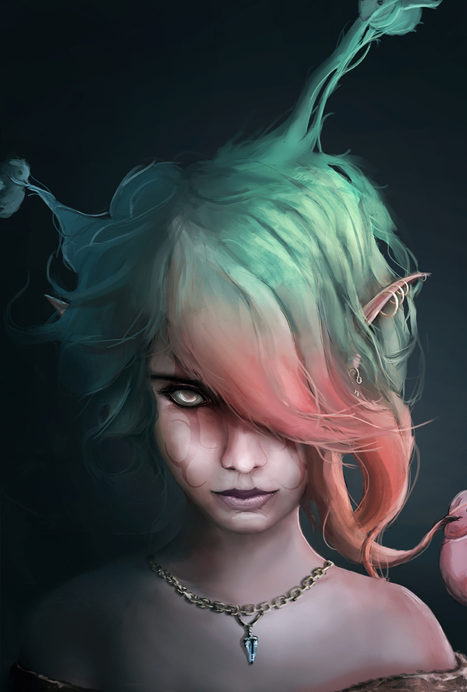 Bird hairdressers with and elf girl with colored hair