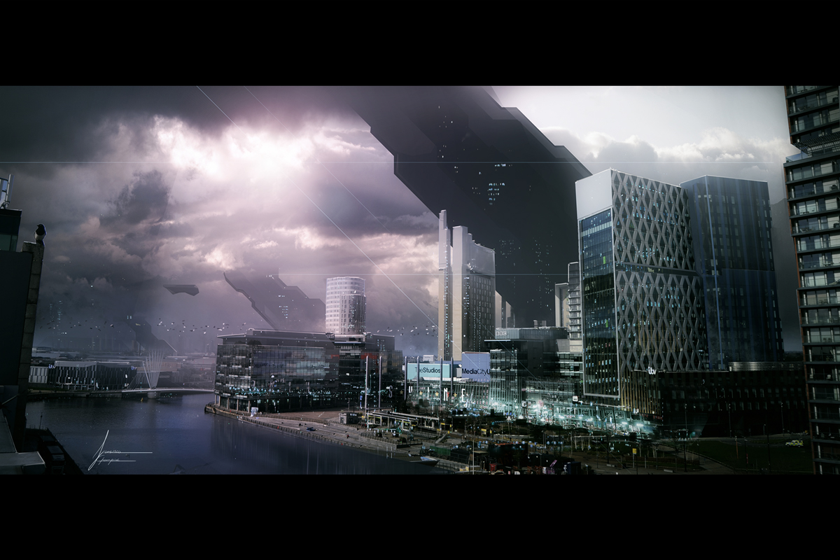 Matte painting of Media City Salford