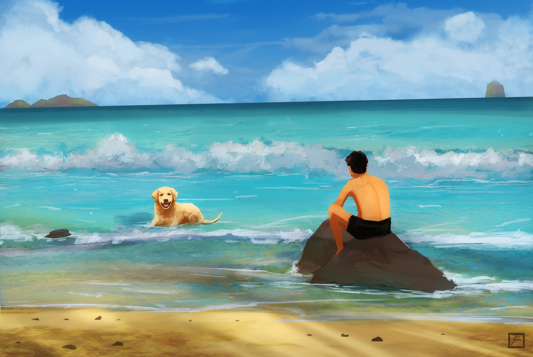 sunny holiday with dog on the sea