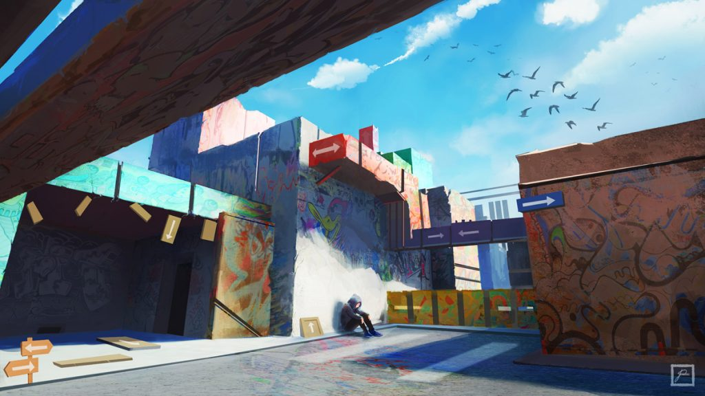Man sitting in the middle of an empty colored city with street art