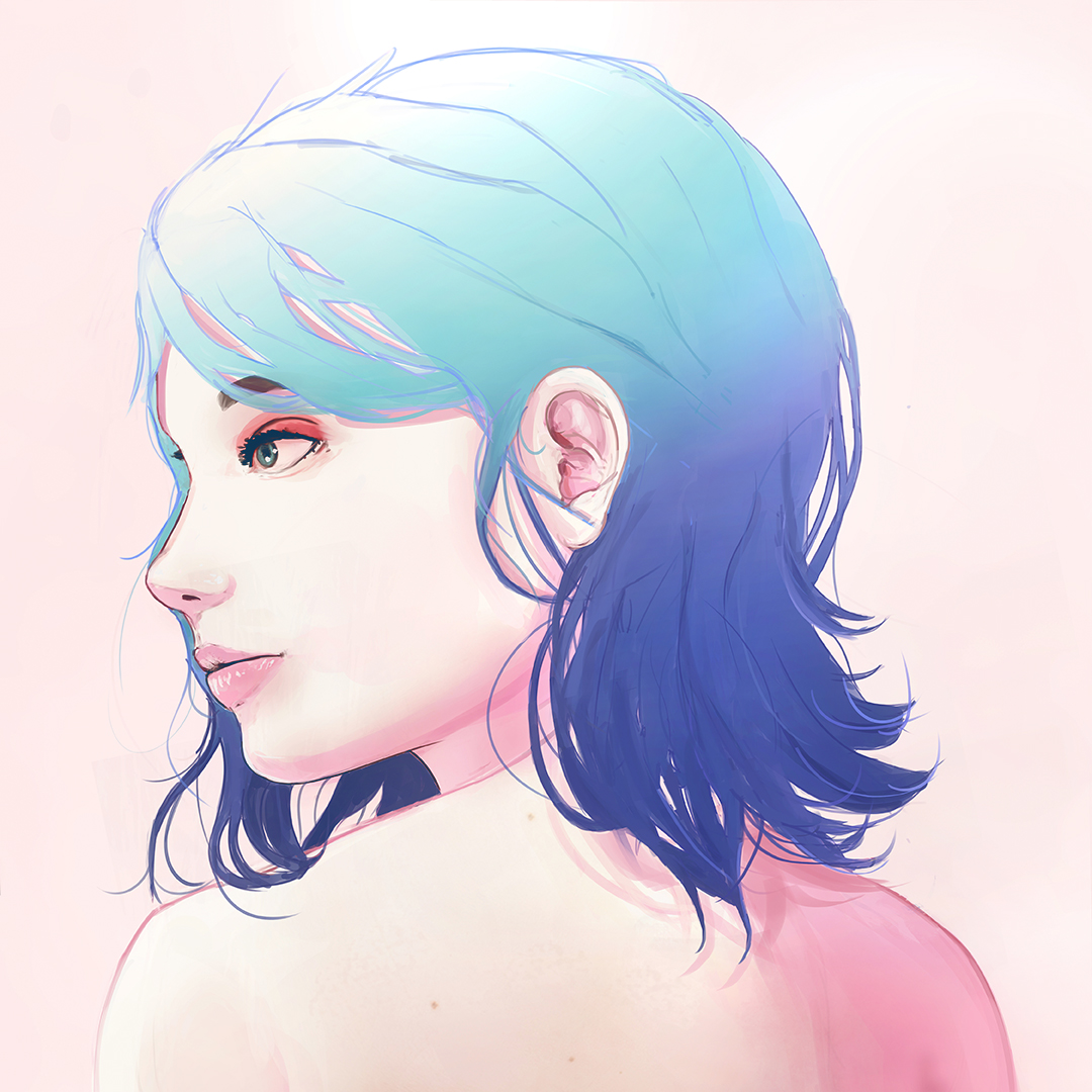 Girl with blue hair portrait painting