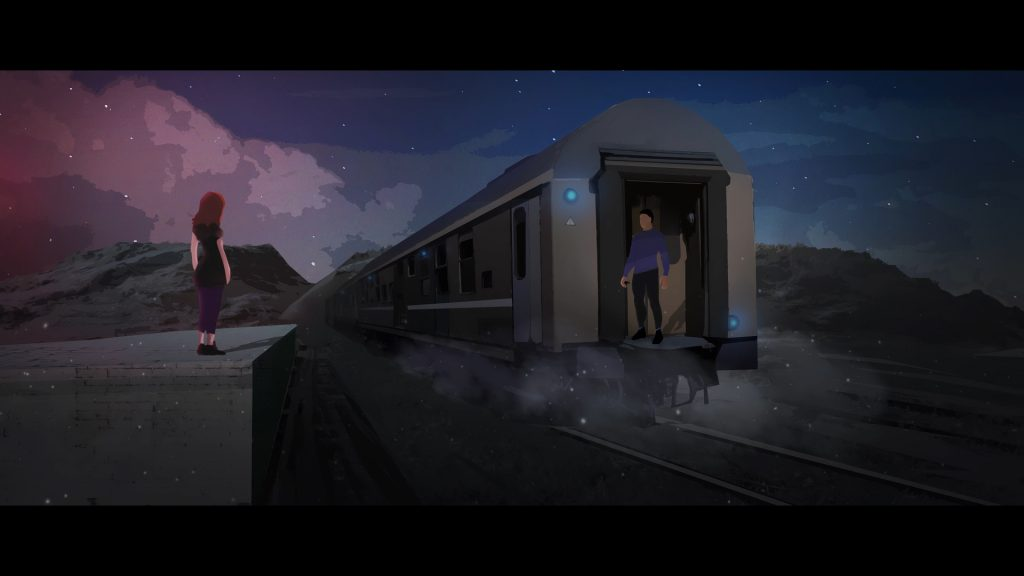Illustration of two people and a train leaving a train station