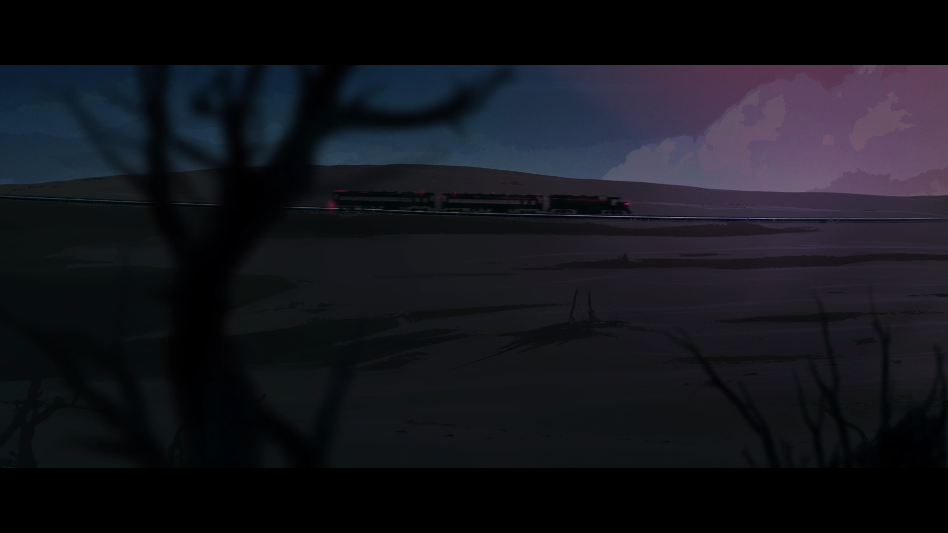 Train going through the mountains in a red night sky