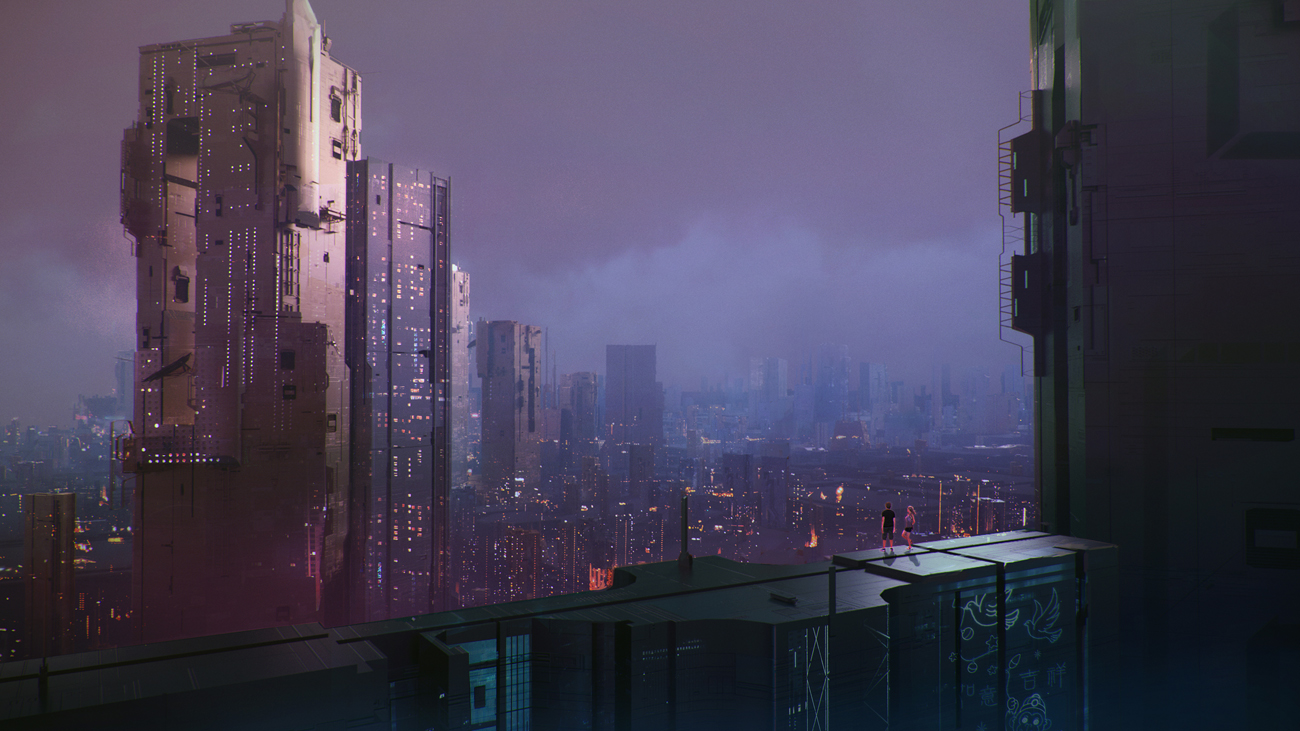 couple watching at a futuristic cityscape