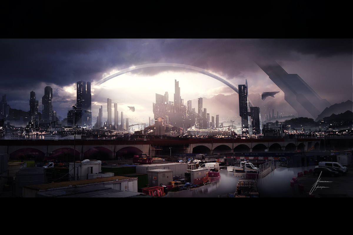 MAtte painting of Manchester UK