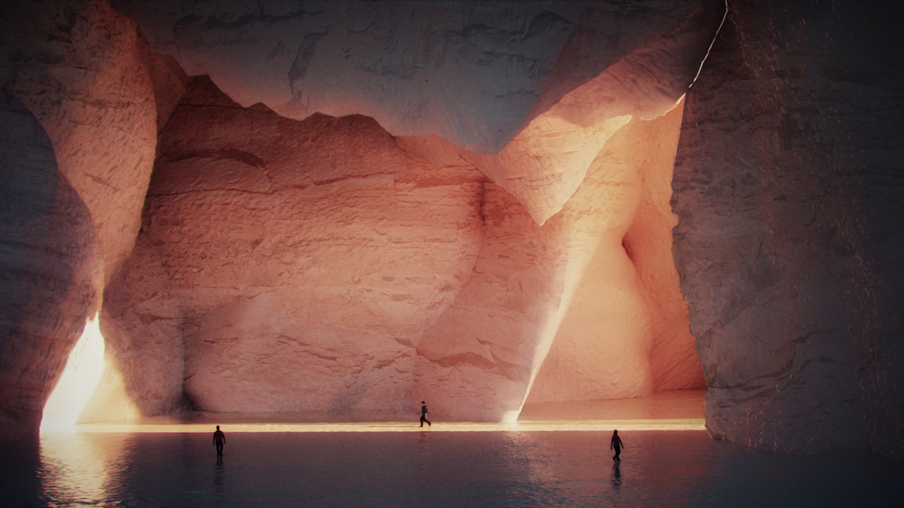 humans walking around a cave lit by a red sunset