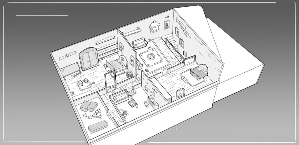 Design of the interior of a house