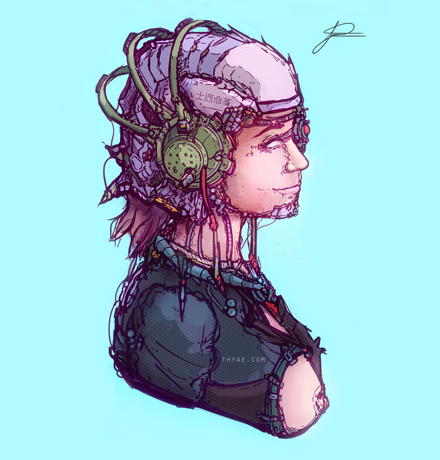 Cyberpunk bust illustration