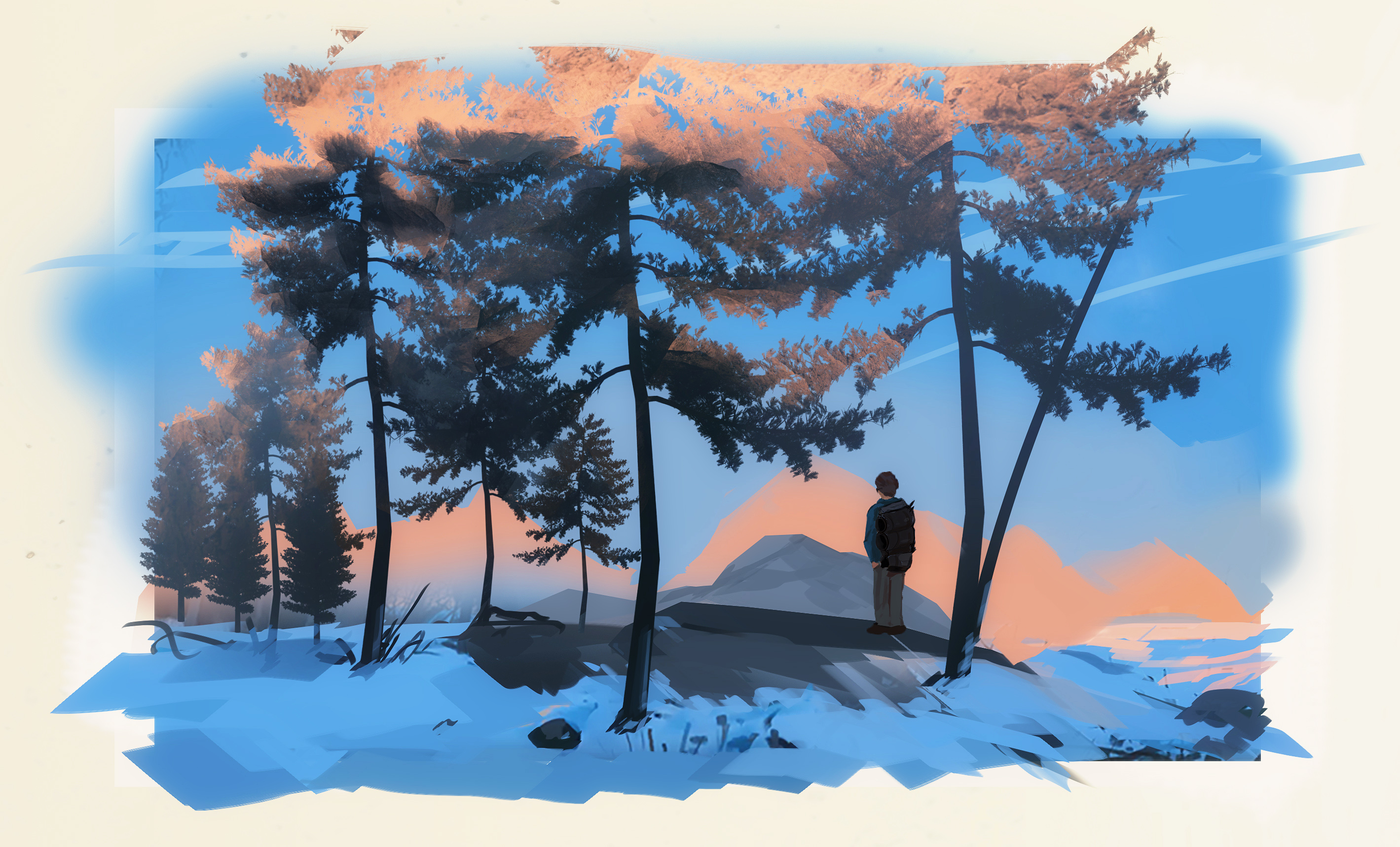 Sunset Illustration of an adventurer exploring to a snowy forest in Alaska