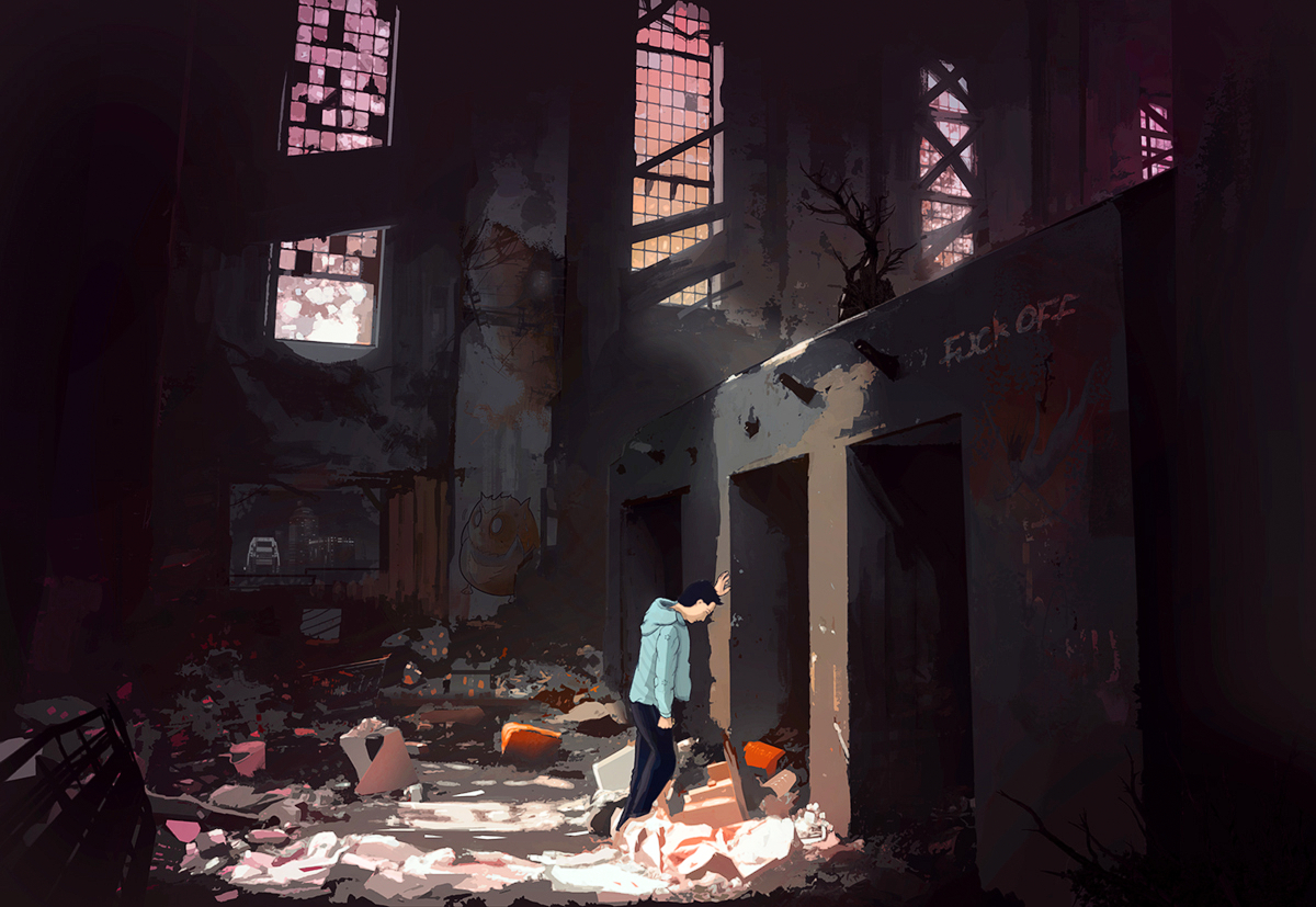 Illustration of a man in the middle of an abandoned location