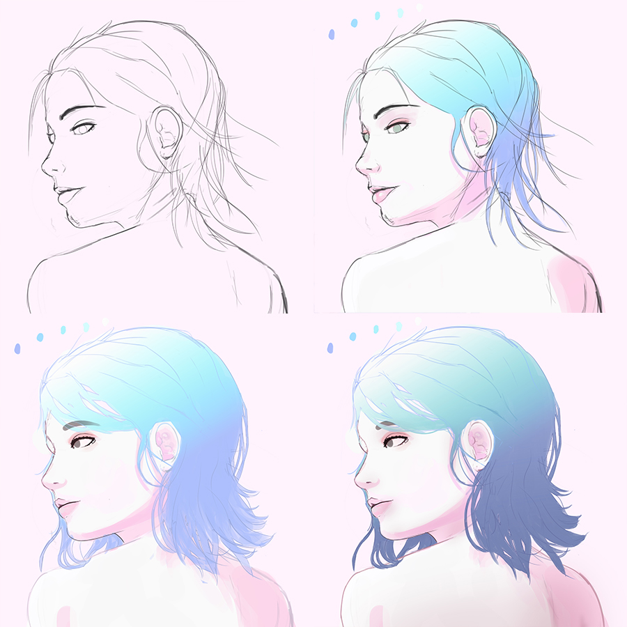 process of woman illustration by Francisco Champac